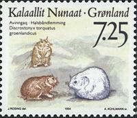 Grønland - 1994 Landdyr i Grønland - 7,25 kr. - Flerfarvet