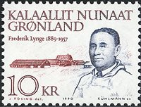 Politikerne Frederik Lynge og Augustinus Telef Nis  Lynge - 10 kr. - Rød/Blå