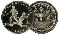 Marshall 1994 - Mundial de Fútbol - moneda 5 dólares