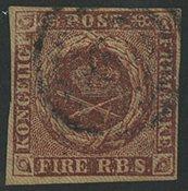 Danmark 1851 - AFA 1 - Fire RBS Ferslev tryk