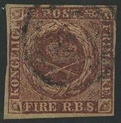 Danmark 1851 - AFA nr. 1 - Fire RBS Ferslev tryk