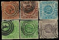 丹麦- 所有6枚早期斯基林面值票-全套