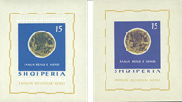 Albanien miniark 1964 4 månefaser utakket + takket