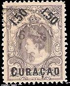 Curacao - 1,50 gulden op 2,50 gulden violetgrijs (nr. 28, gebruikt)