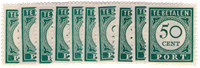 Curacao - Port cijfer en waarde in donkergroen (nr. P34-P43, postfris)