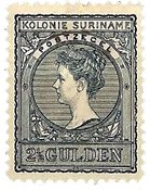 Suriname - 2 1/2 gld zwartblauw (nr. 57, ongebruikt)