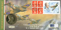 Gran Bretagna 2014 - R.J. Mitchel - busta filatelico-numismatica