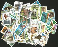Animaux sauvages - 250 timbres diff.