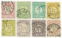 Pays-Bas - Chiffres 1876-1894 2 couleurs, NVPH 30-33a, obl.