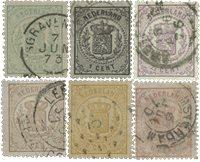 Pays-Bas - Armoiries 1869, NVPH 13-18, obl.