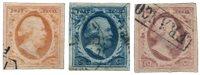 Pays-Bas - Roi Willem III, NVPH 1-3, obl. haute qualité