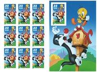 Usa Sylvester og Pip ark m. 10 frimærker