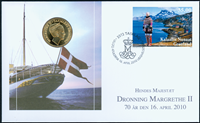 Grønland - Dr. Margrethe 70 år - Møntbrev Grønland
