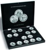 Presentation case for 20 Kookaburra silver soins in capsules, black