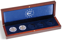 Small coin box VOLTERRA, for 5x2-Euro comm. coinsin capsules