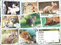 50枚不同猫类专题盖销票