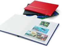 Stockbook - Assorted colors - Size A4 - 16 white pages - Leather-like binding