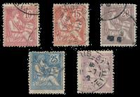 Frankrig 1902 - YT 124-28 - Stemplet