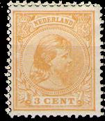 Nederland - 3 ct oranje hangend haar (nr. 34, postfris)