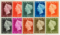 Curacao - Koningin Wilhelmina Hartz (nr. 185-194, ongebruikt)
