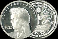 Elvis Presley monnaie en argent 50 dollars 1993