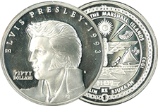Marshall Øerne - Elvis Presley - Sølvmønt 1993 - 50 dollars