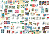 Divers pays - Lot de doublons, EPJ, timbres en vrac etc.