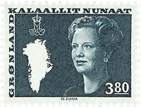 Groenland - Reine Margrethe II - 3,80 kr. - Bleu