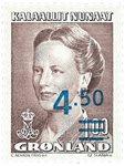Groenland- 1996 Emission précédente -4,50/1,00 kr - Brun - Surcharge bleue