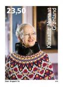 Grønland - Dronning Margrethe 75 år - Postfrisk frimærke