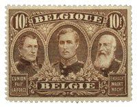 Belgique - Les premiers trois rois, 10Fr brun - Neuf avec ch. (OBP 149)