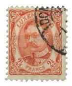 Luxembourg - Duke William 2,5 Fr. Rød Orange - Stemplet (Mi. 82)