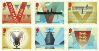 第二次世界大战纪念红版套票 6枚