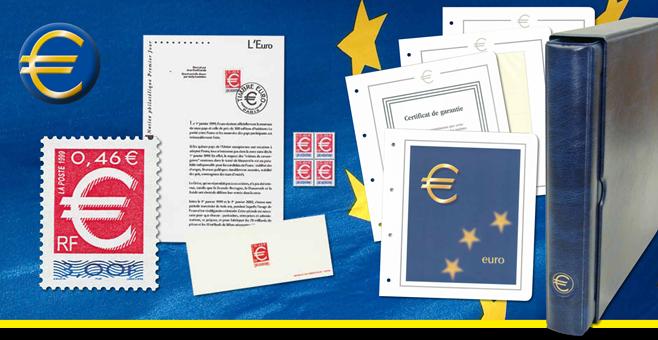 Euro - frimærkesamling med dobbelt valuta