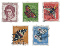 Schweiz 1955 - Michel 618/22 - Stemplet