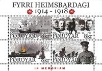 Færøerne - Første verdenskrig - Postfrisk miniark med overtryk
