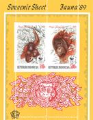 Indonesia - WWF monkeys - Mint souvenir sheet
