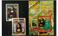 Mona Lisa 1 bloc-feuillet et 2 timbres