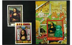 Mona Lisa 1 miniark og 2 frimærker