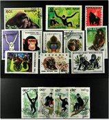 猴子15张不同邮票