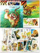 Wild cats 5 souvenir sheets and 50 stamps