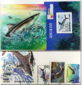 Sharks 3 souvenir sheets and 15 different stamps