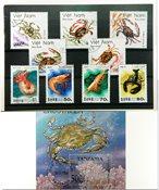 海洋生物1张小型张,1套和17张不同邮票