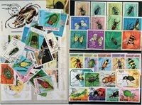 昆虫类4张小型张,2套和32张不同邮票