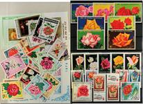 Roser 3 miniark, 1 sæt, 43 forsk. frimærker