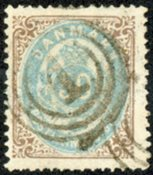 Danmark 1875 - Tofarvet øremærke -  AFA nr. 30a - Stemplet