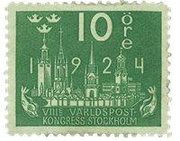 Suède Facit 197 1924 Congrès Mondial de la poste