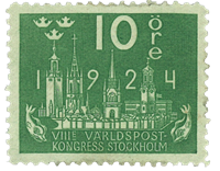 Sweden 1924 - Facit no. 197 World postal congress