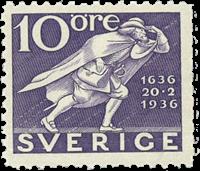 Suède Facit 247c 1936 la poste 300 ans