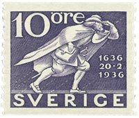 Suède Facit 247a 1936 la poste 300 ans